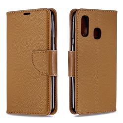 Classic Luxury Litchi Leather Phone Wallet Case for Samsung Galaxy A40 - Brown