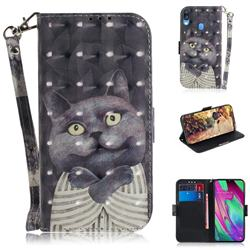 Cat Embrace 3D Painted Leather Wallet Phone Case for Samsung Galaxy A40