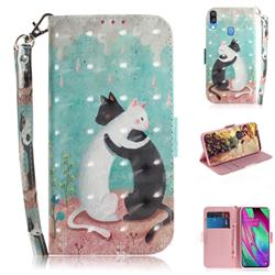 Black and White Cat 3D Painted Leather Wallet Phone Case for Samsung Galaxy A40