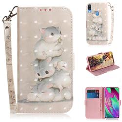 Three Squirrels 3D Painted Leather Wallet Phone Case for Samsung Galaxy A40