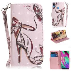 Butterfly High Heels 3D Painted Leather Wallet Phone Case for Samsung Galaxy A40