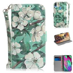 Watercolor Flower 3D Painted Leather Wallet Phone Case for Samsung Galaxy A40