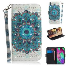Peacock Mandala 3D Painted Leather Wallet Phone Case for Samsung Galaxy A40