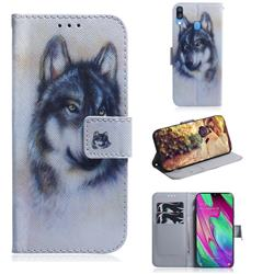Snow Wolf PU Leather Wallet Case for Samsung Galaxy A40
