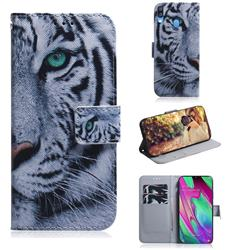 White Tiger PU Leather Wallet Case for Samsung Galaxy A40