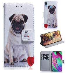 Pug Dog PU Leather Wallet Case for Samsung Galaxy A40