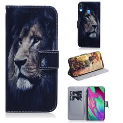 Lion Face PU Leather Wallet Case for Samsung Galaxy A40