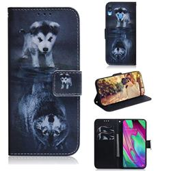 Wolf and Dog PU Leather Wallet Case for Samsung Galaxy A40