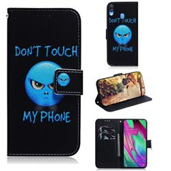 Not Touch My Phone PU Leather Wallet Case for Samsung Galaxy A40