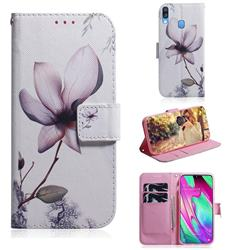 Magnolia Flower PU Leather Wallet Case for Samsung Galaxy A40