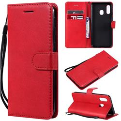 Retro Greek Classic Smooth PU Leather Wallet Phone Case for Samsung Galaxy A40 - Red