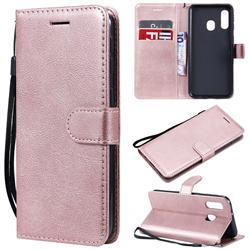 Retro Greek Classic Smooth PU Leather Wallet Phone Case for Samsung Galaxy A40 - Rose Gold