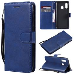 Retro Greek Classic Smooth PU Leather Wallet Phone Case for Samsung Galaxy A40 - Blue