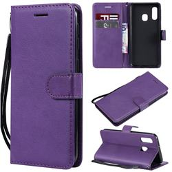 Retro Greek Classic Smooth PU Leather Wallet Phone Case for Samsung Galaxy A40 - Purple