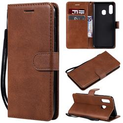 Retro Greek Classic Smooth PU Leather Wallet Phone Case for Samsung Galaxy A40 - Brown