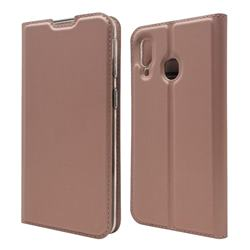 Ultra Slim Card Magnetic Automatic Suction Leather Wallet Case for Samsung Galaxy A40 - Rose Gold