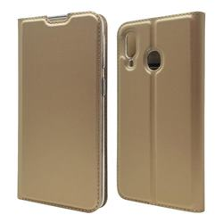 Ultra Slim Card Magnetic Automatic Suction Leather Wallet Case for Samsung Galaxy A40 - Champagne