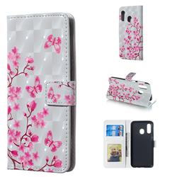 Butterfly Sakura Flower 3D Painted Leather Phone Wallet Case for Samsung Galaxy A40