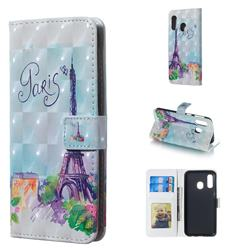 Paris Tower 3D Painted Leather Phone Wallet Case for Samsung Galaxy A40