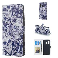Skull Flower 3D Painted Leather Phone Wallet Case for Samsung Galaxy A40