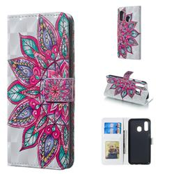 Mandara Flower 3D Painted Leather Phone Wallet Case for Samsung Galaxy A40