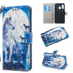 Ice Wolf 3D Painted Leather Wallet Phone Case for Samsung Galaxy A40