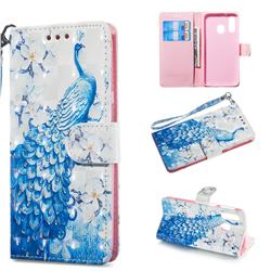 Blue Peacock 3D Painted Leather Wallet Phone Case for Samsung Galaxy A40