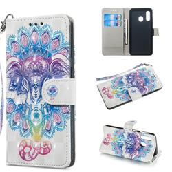 Colorful Elephant 3D Painted Leather Wallet Phone Case for Samsung Galaxy A40