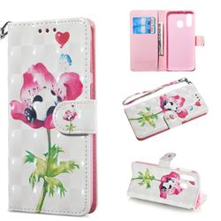 Flower Panda 3D Painted Leather Wallet Phone Case for Samsung Galaxy A40