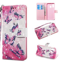 Pink Butterfly 3D Painted Leather Wallet Phone Case for Samsung Galaxy A40