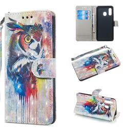 Watercolor Owl 3D Painted Leather Wallet Phone Case for Samsung Galaxy A40