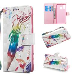 Music Pen 3D Painted Leather Wallet Phone Case for Samsung Galaxy A40