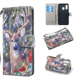 Elk Deer 3D Painted Leather Wallet Phone Case for Samsung Galaxy A40