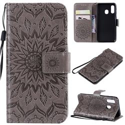 Embossing Sunflower Leather Wallet Case for Samsung Galaxy A40 - Gray