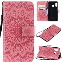 Embossing Sunflower Leather Wallet Case for Samsung Galaxy A40 - Pink