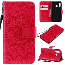 Embossing Sunflower Leather Wallet Case for Samsung Galaxy A40 - Red