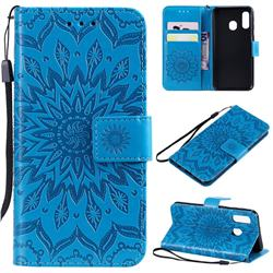 Embossing Sunflower Leather Wallet Case for Samsung Galaxy A40 - Blue