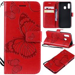 Embossing 3D Butterfly Leather Wallet Case for Samsung Galaxy A40 - Red