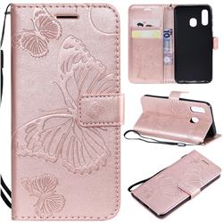 Embossing 3D Butterfly Leather Wallet Case for Samsung Galaxy A40 - Rose Gold