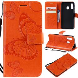 Embossing 3D Butterfly Leather Wallet Case for Samsung Galaxy A40 - Orange