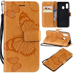 Embossing 3D Butterfly Leather Wallet Case for Samsung Galaxy A40 - Yellow