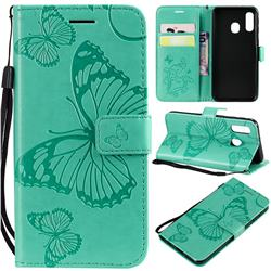 Embossing 3D Butterfly Leather Wallet Case for Samsung Galaxy A40 - Green