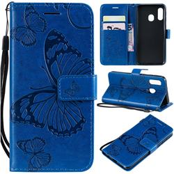 Embossing 3D Butterfly Leather Wallet Case for Samsung Galaxy A40 - Blue