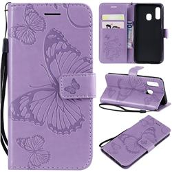 Embossing 3D Butterfly Leather Wallet Case for Samsung Galaxy A40 - Purple