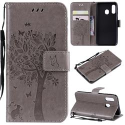 Embossing Butterfly Tree Leather Wallet Case for Samsung Galaxy A40 - Grey