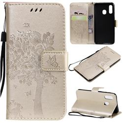 Embossing Butterfly Tree Leather Wallet Case for Samsung Galaxy A40 - Champagne