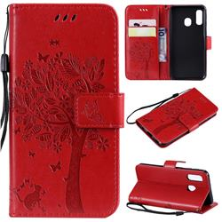 Embossing Butterfly Tree Leather Wallet Case for Samsung Galaxy A40 - Red
