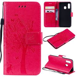 Embossing Butterfly Tree Leather Wallet Case for Samsung Galaxy A40 - Rose