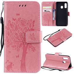 Embossing Butterfly Tree Leather Wallet Case for Samsung Galaxy A40 - Pink
