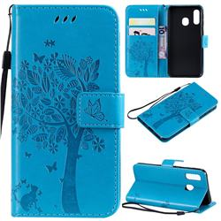 Embossing Butterfly Tree Leather Wallet Case for Samsung Galaxy A40 - Blue